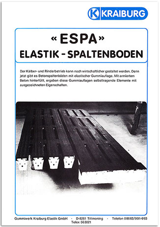 KRAIBURG ESPA - elastic slatted floor covering brochure from 1982