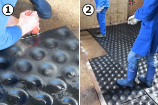 the area of the calving pen is filled with cup-formed lower mats