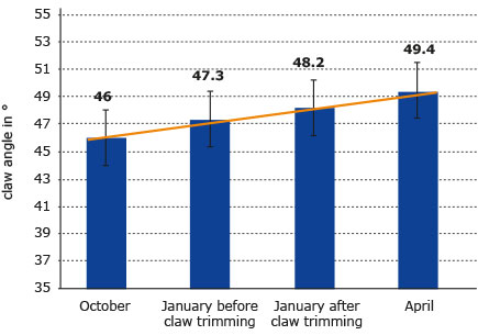 chart with development of claw angle from October to April on a pediKURA experimental farm