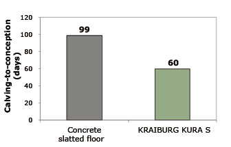 shorter calving to conception intervals of dairy cows on rubber flooring than on concrete floor