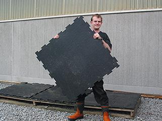 KRAIBURG KURA P walkway flooring made of rubber in the dairy cow cubicle house, Kartop farm, Skara, Sweden